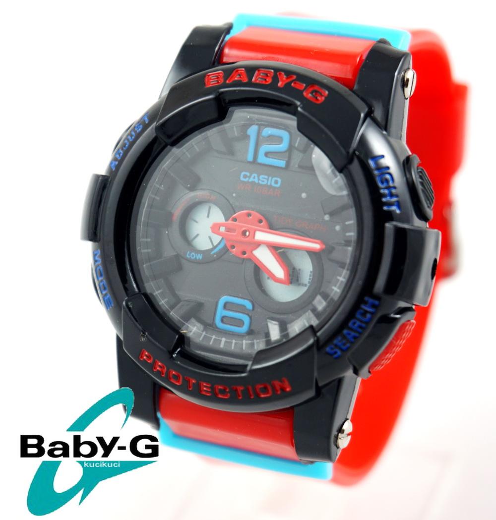 Baby G BGA 180 Hitam tali Merah