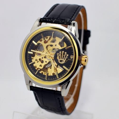 Rolex Skeleton Hitam Gold