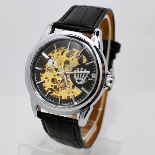 Rolex Skeleton Hitam Silver